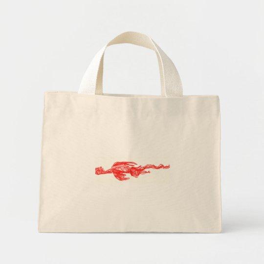 Red dragon scribble drawing mini tote bag