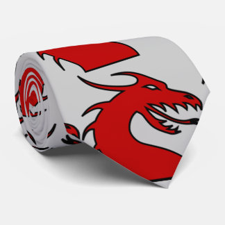 Red Dragon Silhouette Neck Tie
