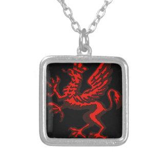 Red dragon square pendant necklace