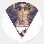 Red Dragon Triangle Trendium Authentic Round Stickers