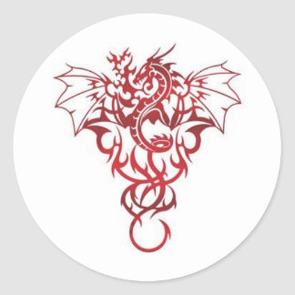 Red Dragon Tribal Tattoo Design Pictures Classic Round Sticker