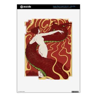 Red Dragon - Vintage Art Nouveau iPad Skin -
