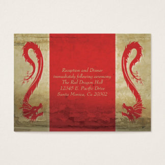 Red Dragon Wedding  Reception Card and Directions