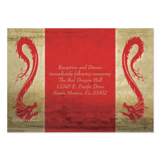 Red Dragon Wedding  Reception Card and Directions Large Business Cards (Pack Of 100)