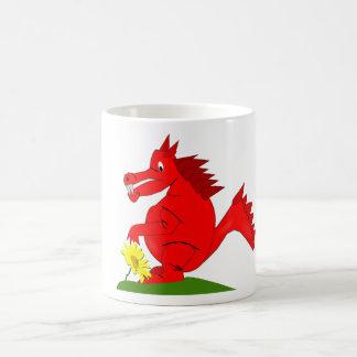 Red Dragon with Yellow Flower Mug