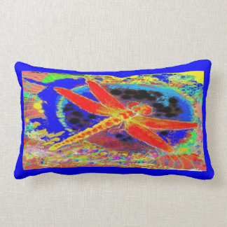Red Dragonfly & Deep Blue  Trim by Sharles Throw Pillows