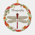 Red Dragonfly in Autumn Wreath Ornament