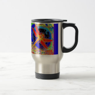 Red Dragonfly in Blue Lagoon by SHARLES Travel Mug