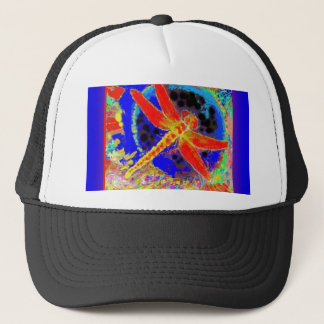Red Dragonfly in Blue Lagoon by SHARLES Trucker Hat