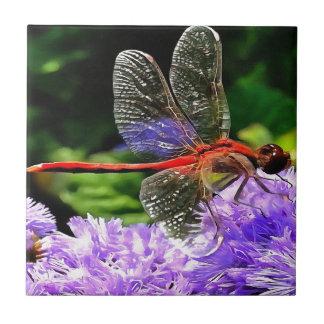 Red Dragonfly on Violet Purple Flowers Ceramic Tile