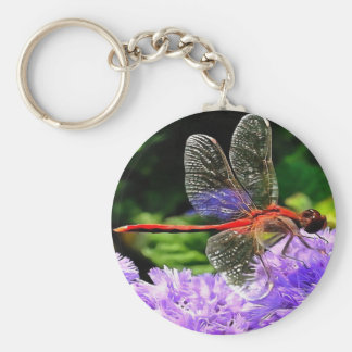 Red Dragonfly on Violet Purple Flowers Keychain