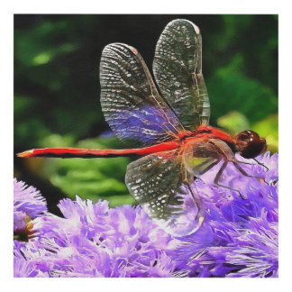 Red Dragonfly on Violet Purple Flowers Panel Wall Art