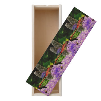 Red Dragonfly on Violet Purple Flowers Wooden Keepsake Box