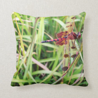 Red Dragonfly Throw Pillow