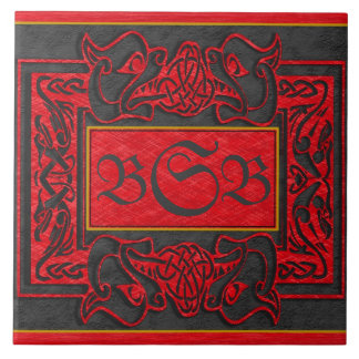 """Red Dragons Breath"" 3 Initial Edit Monogram Tile"