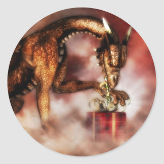 Red Dragons Christmas Classic Round Sticker
