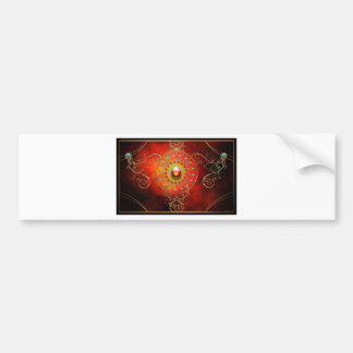 RED DREAM MANDALA ESOTERIC ABSTRACT BUMPER STICKER