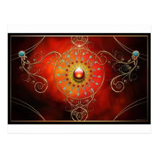 RED DREAM MANDALA ESOTERIC ABSTRACT POSTCARD