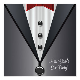 Red Dress Black Tuxedo New Years Eve Party Card
