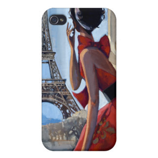 Red Dress, Eiffel Tower, Let's Go iPhone 4 Cases