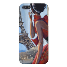 Red Dress, Eiffel Tower, Let's Go Iphone Se/5/5s Cover at Zazzle
