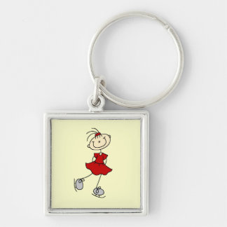 Red Dress Figure Skater Tshirts and Gifts Silver-Colored Square Keychain