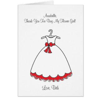 Red Dress Flower Girl Card