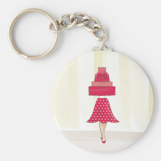 Red Dress girl with gifts Basic Round Button Keychain