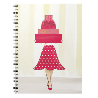 Red Dress girl with gifts Notebooks