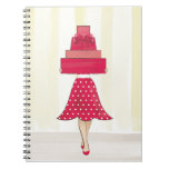 Red Dress girl with gifts Spiral Note Books