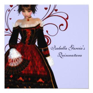 Red Dress Heart Swirls Purple Quinceanera Card
