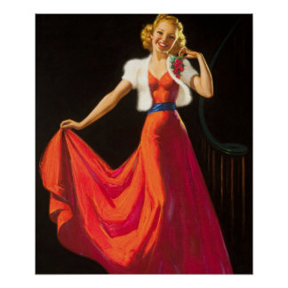 Red Dress  Pin Up Art Poster