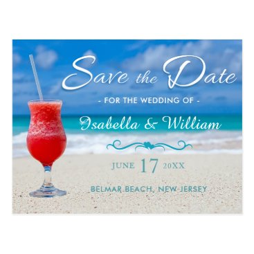 Beach Themed Red Drink Ocean Beach Save the Date Postcard