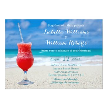 Beach Themed Red Drink Ocean Beach Wedding Invitation