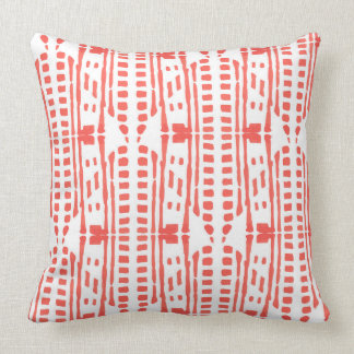 Red drops ethnic style throw pillow