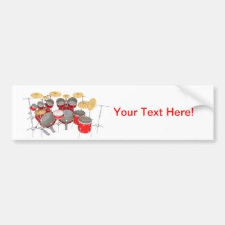 Red Drum Kit: 10 Piece: Car Bumper Sticker