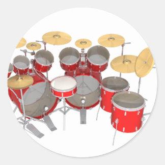 Red Drum Kit: 10 Piece: Classic Round Sticker
