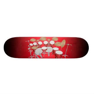 Red Drum Kit Illustration: Custom Skateboard