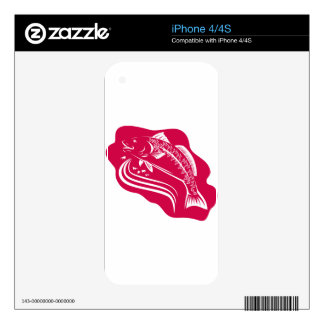 Red Drum Spot Tail Bass Fish Retro Decal For iPhone 4