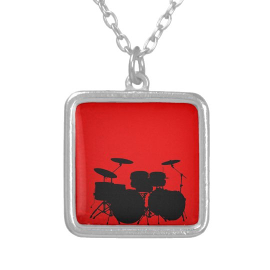 Red Drum Vector Silver Plated Necklace
