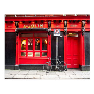 Red Dublin Pub Postcard