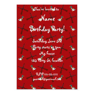 red duck hunting pattern 5x7 paper invitation card