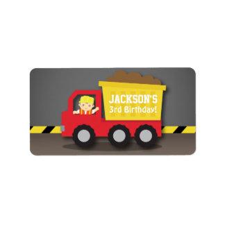 Red Dump Truck Boy Construction Birthday Party Label