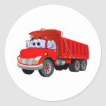 Red Dump Truck Cartoon Round Stickers