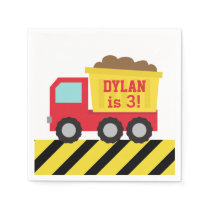 Red Dump Truck Construction Boys Birthday Party Paper Napkin