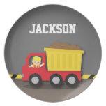 Red Dump Truck Construction Builder Boy Dinner Plate