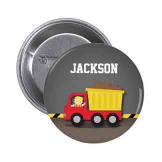 Red Dump Truck Construction Builder Boy Pinback Button