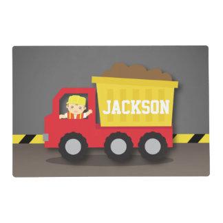 Red Dump Truck Construction Builder Boy Placemat