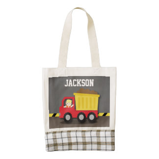 Red Dump Truck Construction Cute Builder Boy Zazzle HEART Tote Bag
