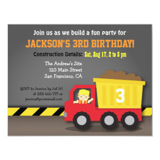 """Red Dump Truck Construction Theme Birthday Party 4.25"""" X 5.5"""" Invitation Card"""